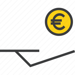 accept, coin, donate, donation, euro, funds, hand icon