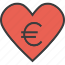 care, charity, donate, donation, euro, heart, love icon