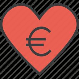care, charity, donate, donation, euro, heart, love icon
