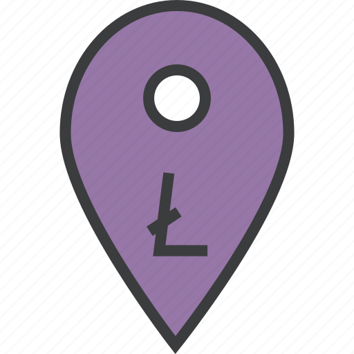 ecommerce, litecoin, location, map, marker, pin, usage icon