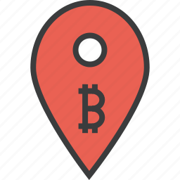 bitcoin, ecommerce, location, map, marker, pin, usage icon
