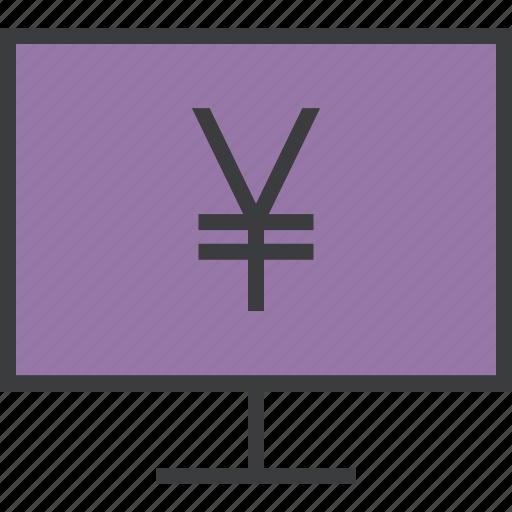 computer, ebanking, electronic, etrade, finance, online, yen icon