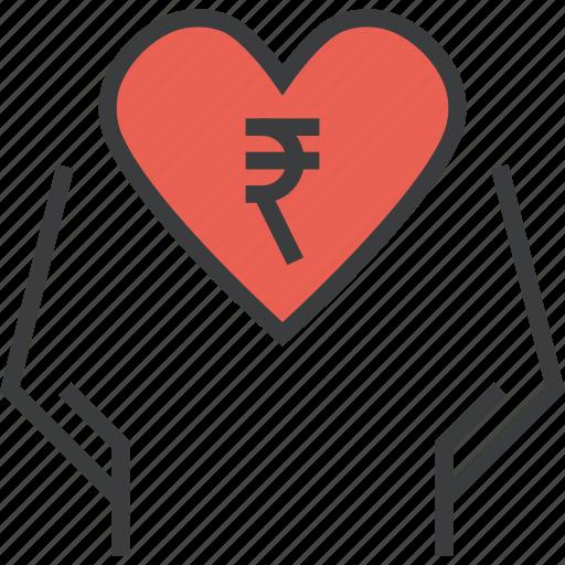 care, charity, donate, donation, love, rupee, trust icon