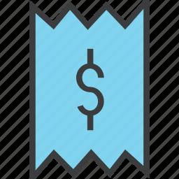 bill, business, cost, dollar, invoice, receipt, trade icon