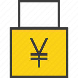 funds, lock, private, secure, seize, transaction, yen icon