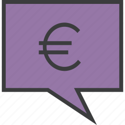 alert, balance, euro, message, mobile, notification, transaction icon