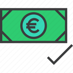 accept, accepted, approve, cash, euro, payment, success icon