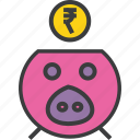 bank, banking, finance, guardar, piggy, rupee, save, savings icon