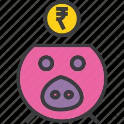 bank, banking, finance, guardar, piggy, rupee, save, savings icon