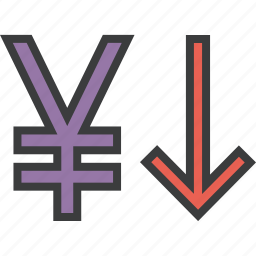 currency value, decrease, finance, foreign exchange, shares, stocks, yen icon