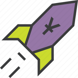 currency, finance, increase, profit, rocket, value, yuan icon