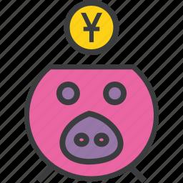 bank, banking, finance, piggy, save, savings, yuan icon