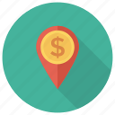 cash, coin, dollar, finance, location, map, money icon