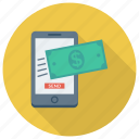 finance, mobile, money, payment, phone, smartphone, transfer icon