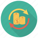 banking, currency, finance, money, refresh, reload icon