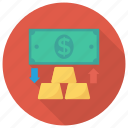 currency, dollar, finance, gold, goldmoney, money, payment icon