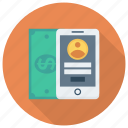 cash, finance, mobilemoney, mobilepayment, money, phone, smartphone icon