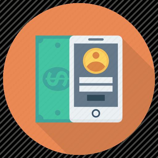 cash, finance, mobilemoney, mobilepayment, money, phone, smartphone icon