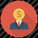 avatar, coin, money, person, profile icon