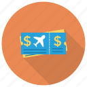 planeticket, ticket, tourism, transport, travel icon
