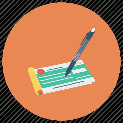 bankcheque, banking, chequebook, chequen, finance, money, payment icon