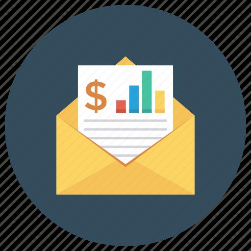 analytics, book, eml, envelope, letter, message, report icon