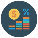 business, cash, currency, finance, money, percentage icon