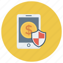 mobilepayment, mobilesecurity, money, phone, protection, smartphone icon