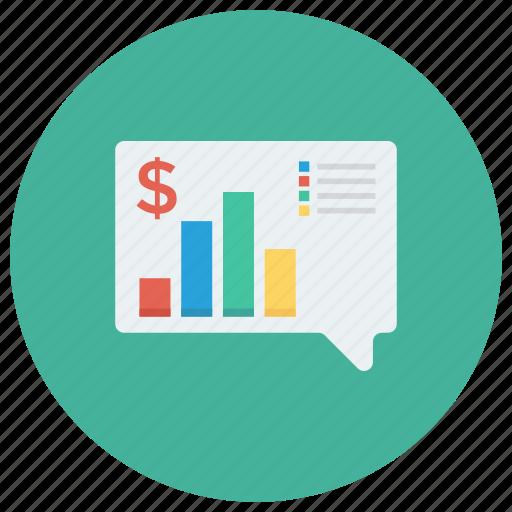 bubble, chart, message, report, talk icon