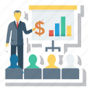analytics, business, chart, graph, meeting, present, presentation icon