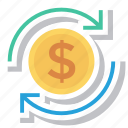 business, cash, currency, dollar, finance, reload icon