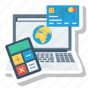 calculator, computer, credit, ecommerce, laptop, money, payment icon