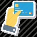 atm, credit, debit, finger, gesture, money, payment icon