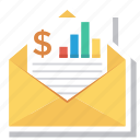 analytics, book, email, envelope, letter, message, report icon