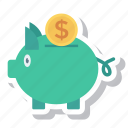 cash, currency, dollar, finance, money, piggybank icon