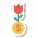 currency, money, nature, plant, profit icon