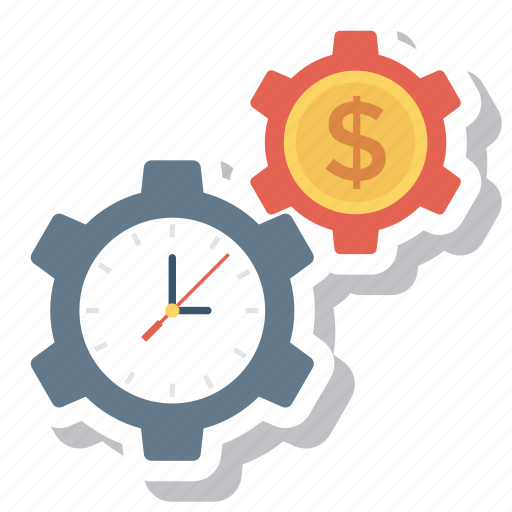 dollar, gear, money, options, payment, settings, time icon