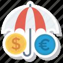 dollar, euro, lock, protection, safe, security, umbrella icon