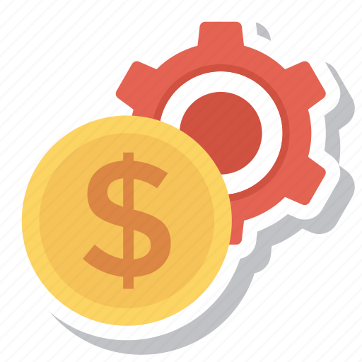 coin, gear, money, options, settings icon