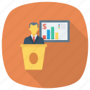 analytics, business, businesspresentation, chart, graph, meeting, presentation icon