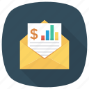 analytics, book, eml, envelope, letter, message, report icon