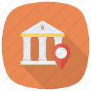 bank, location, map, money, navigation, pin icon