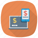 bank, commerce, internetbanking, laptop, loan, mobilebanking, money icon