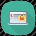 cash, finance, laptop, money, security icon