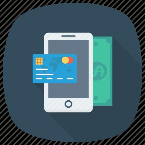 cash, credit, money, payment, phone, smartphone icon