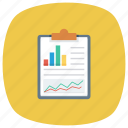 analytics, chart, clipboard, graph, report, reportcover icon
