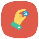 coin, currency, finger, gesture, money, moneyinhand icon