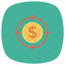 cash, currency, finance, money, target, targetmoney icon