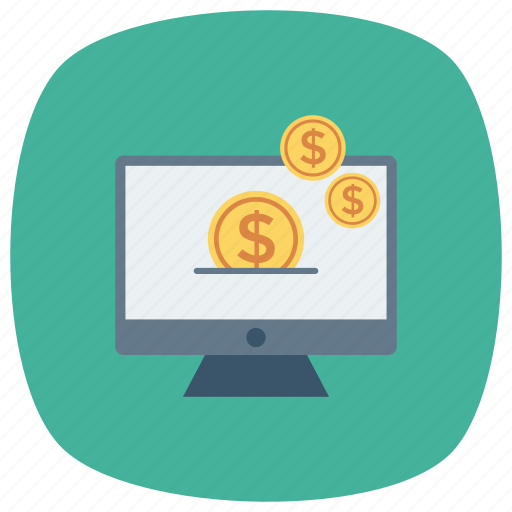 banking, computer, currency, money, online, screen icon
