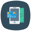 cash, credit, money, payment, phone, smartphone icon
